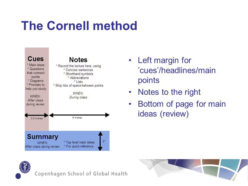 The Cornell method Left margin for cues/headlines/main points Notes to the right Bottom of page for main ideas (review)