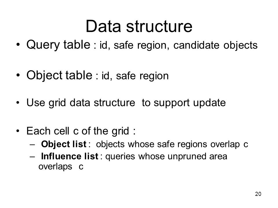 Data structure Query table : id, safe region, candidate objects Object table : id, safe region Use grid data structure to support update Each cell c of the grid : – Object list : objects whose safe regions overlap c – Influence list : queries whose unpruned area overlaps c 20