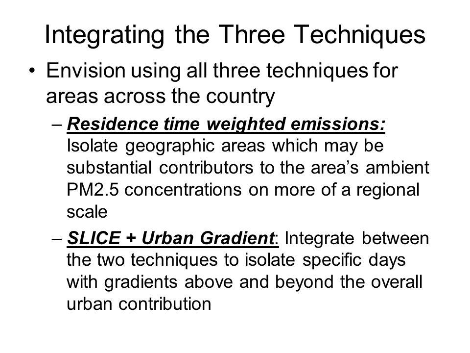 Integrating the Three Techniques Envision using all three techniques for areas across the country –Residence time weighted emissions: Isolate geographic areas which may be substantial contributors to the areas ambient PM2.5 concentrations on more of a regional scale –SLICE + Urban Gradient: Integrate between the two techniques to isolate specific days with gradients above and beyond the overall urban contribution