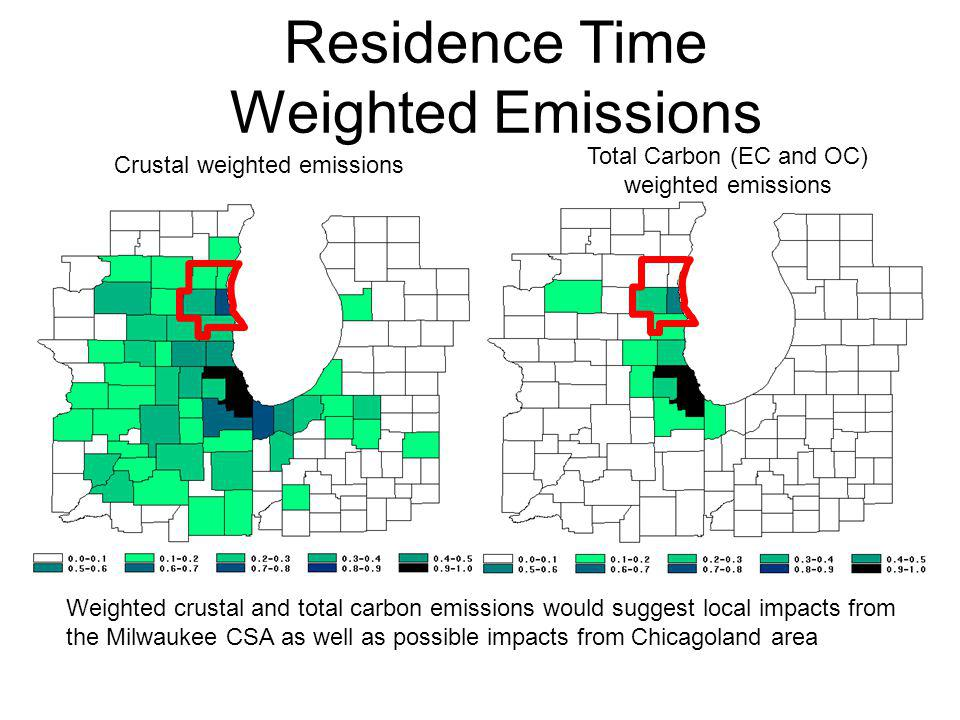 Weighted crustal and total carbon emissions would suggest local impacts from the Milwaukee CSA as well as possible impacts from Chicagoland area Crustal weighted emissions Total Carbon (EC and OC) weighted emissions
