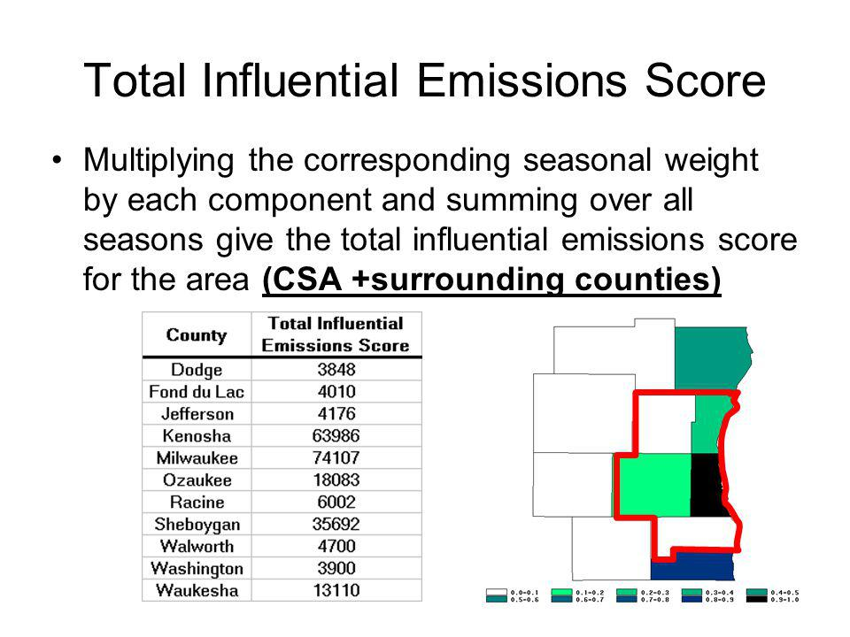 Total Influential Emissions Score Multiplying the corresponding seasonal weight by each component and summing over all seasons give the total influential emissions score for the area (CSA +surrounding counties)