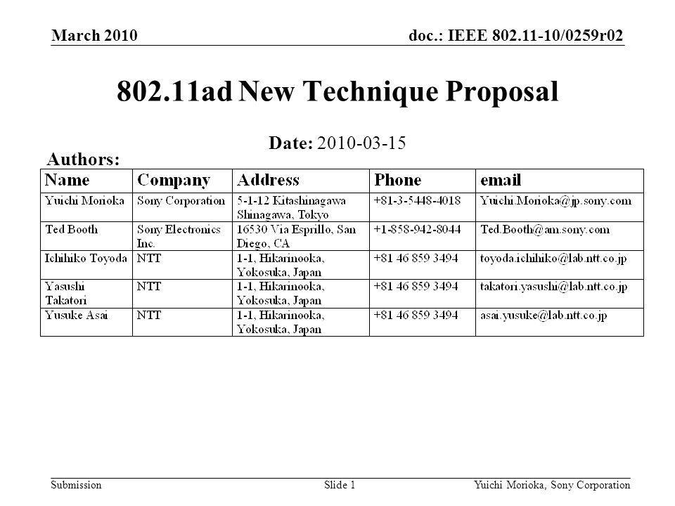 doc.: IEEE /0259r02 Submission Date: ad New Technique Proposal March 2010 Yuichi Morioka, Sony CorporationSlide 1 Authors: