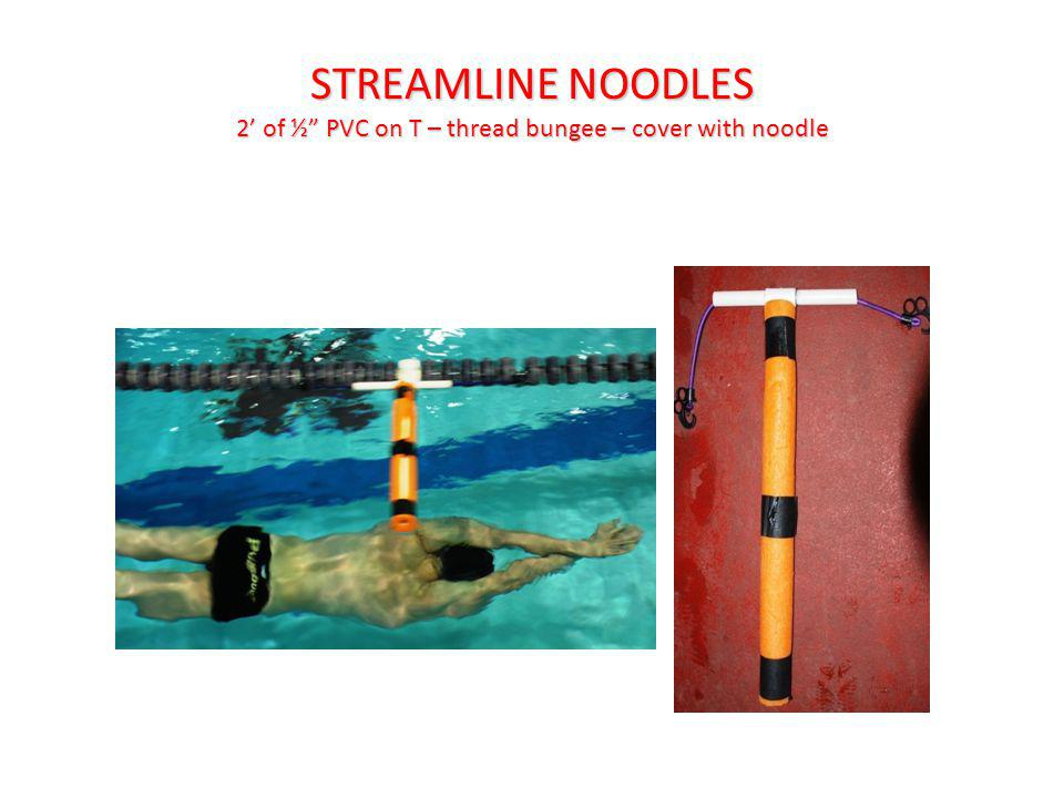 STREAMLINE NOODLES 2 of ½ PVC on T – thread bungee – cover with noodle
