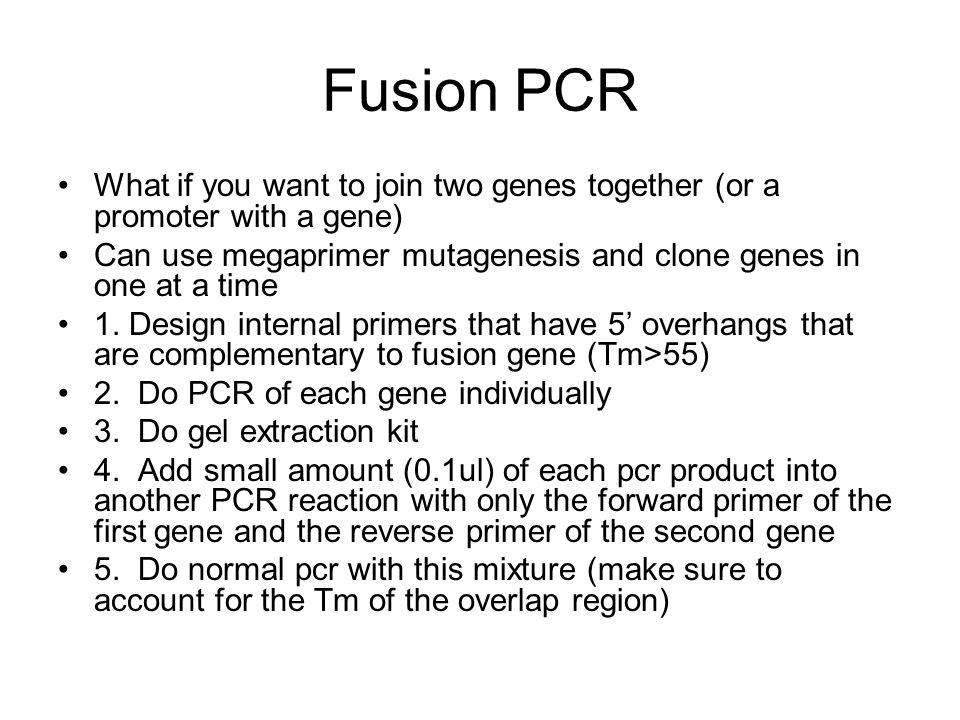 Fusion PCR What if you want to join two genes together (or a promoter with a gene) Can use megaprimer mutagenesis and clone genes in one at a time 1.