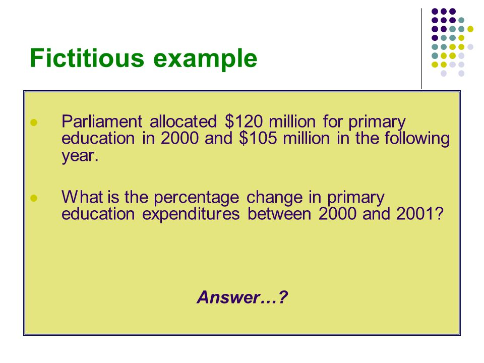 Fictitious example Parliament allocated $120 million for primary education in 2000 and $105 million in the following year.