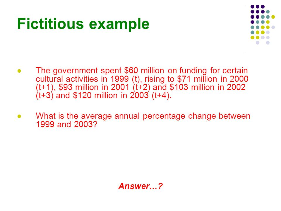 Fictitious example The government spent $60 million on funding for certain cultural activities in 1999 (t), rising to $71 million in 2000 (t+1), $93 million in 2001 (t+2) and $103 million in 2002 (t+3) and $120 million in 2003 (t+4).