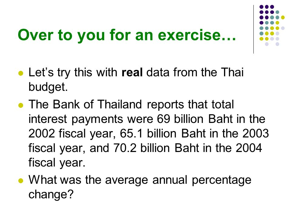 Over to you for an exercise… Lets try this with real data from the Thai budget.