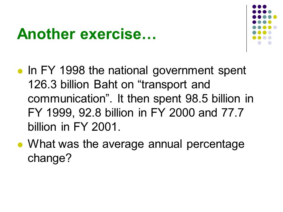 Another exercise… In FY 1998 the national government spent 126.3 billion Baht on transport and communication.