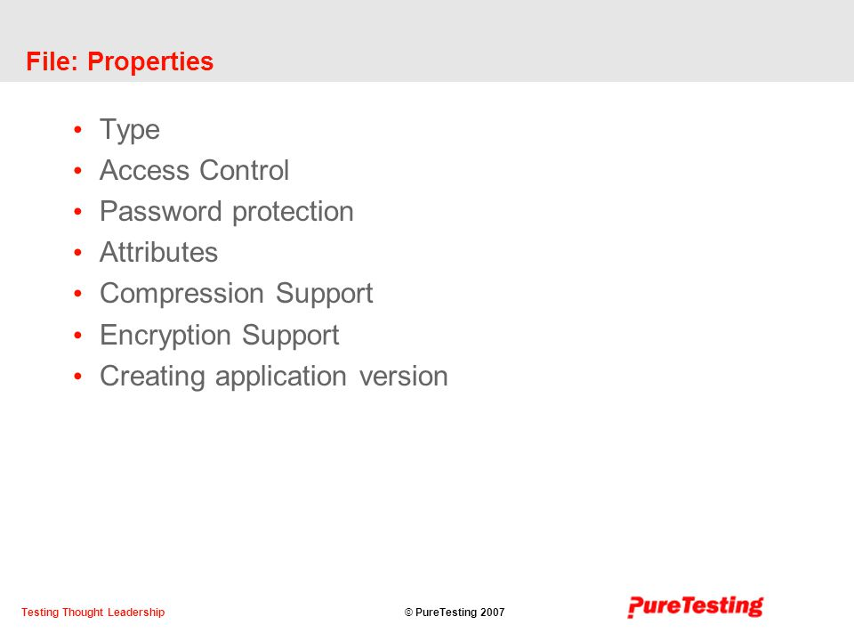 © PureTesting 2007Testing Thought Leadership File: Properties Type Access Control Password protection Attributes Compression Support Encryption Support Creating application version