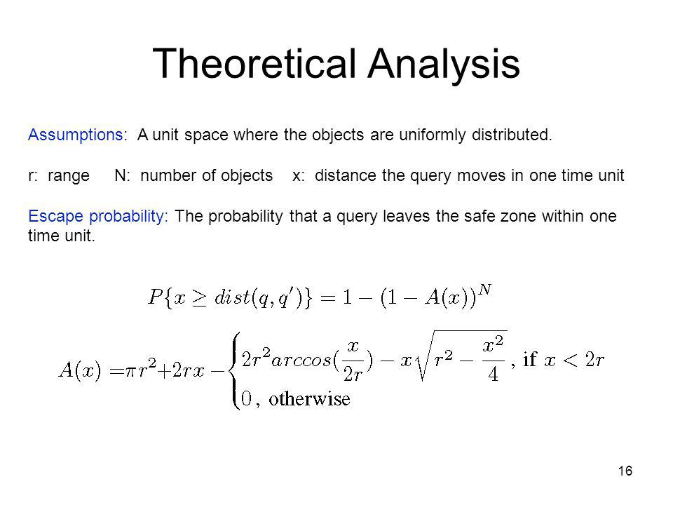 Theoretical Analysis 16 Assumptions: A unit space where the objects are uniformly distributed.