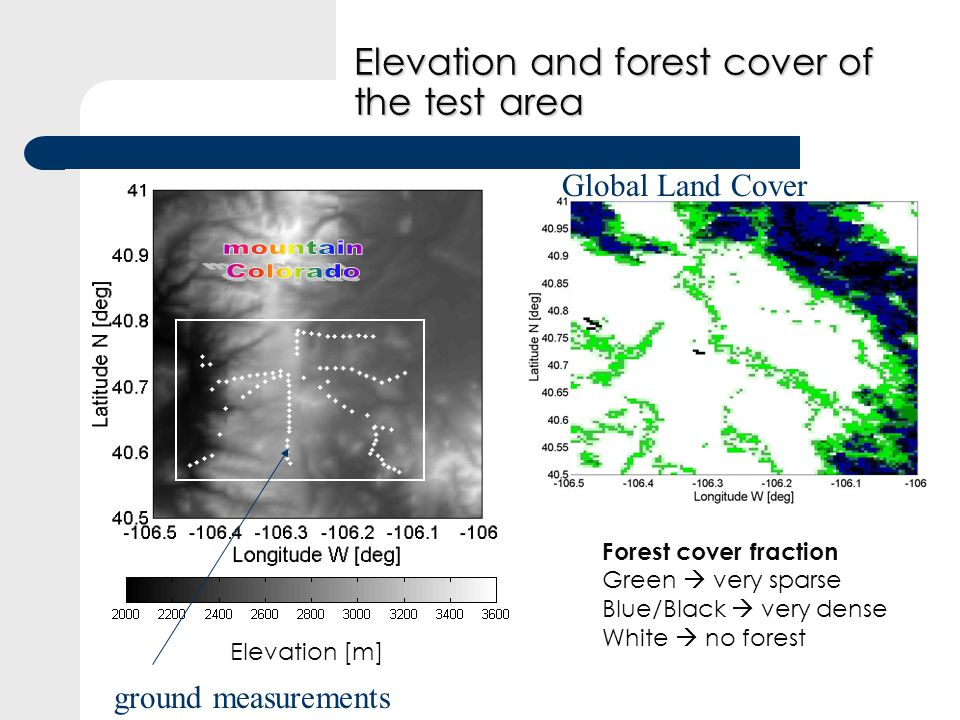 Elevation and forest cover of the test area Meters Forest cover fraction Green very sparse Blue/Black very dense White no forest Elevation [m] ground measurements Global Land Cover