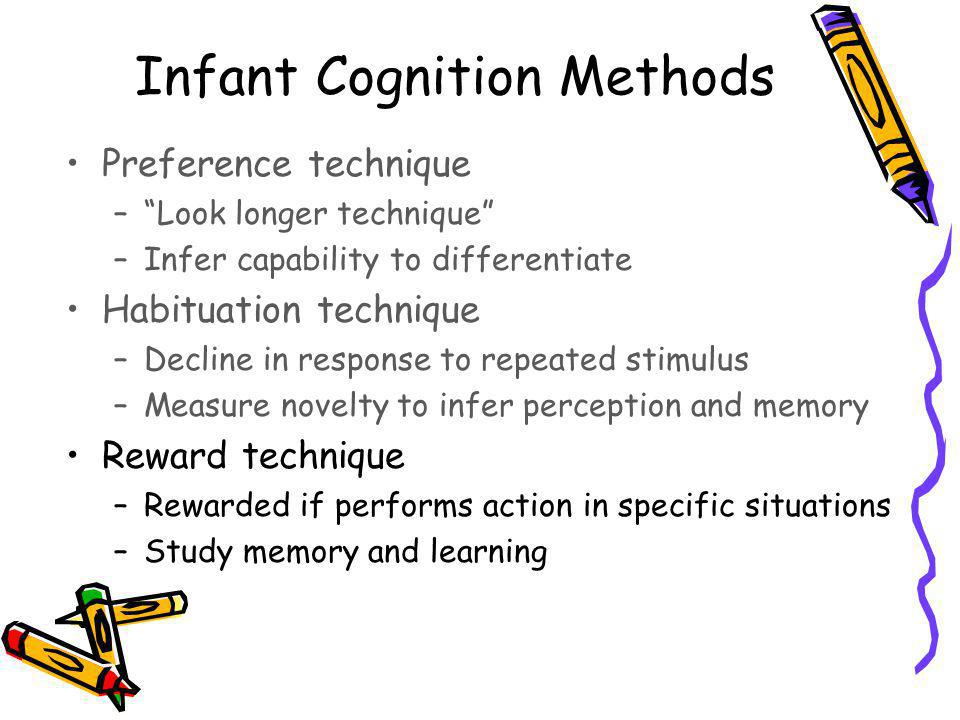 Infant Cognition Methods Preference technique –Look longer technique –Infer capability to differentiate Habituation technique –Decline in response to repeated stimulus –Measure novelty to infer perception and memory Reward technique –Rewarded if performs action in specific situations –Study memory and learning