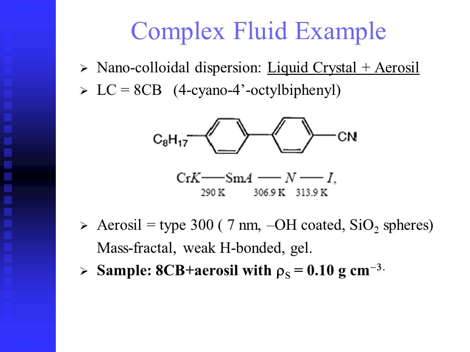 Nano-colloidal dispersion: Liquid Crystal + Aerosil LC = 8CB(4-cyano-4-octylbiphenyl) Aerosil = type 300 ( 7 nm, –OH coated, SiO 2 spheres) Mass-fractal, weak H-bonded, gel.