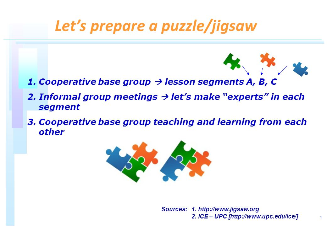 1 1.Cooperative base group lesson segments A, B, C 2.Informal group meetings lets make experts in each segment 3.Cooperative base group teaching and learning from each other Lets prepare a puzzle/jigsaw Sources: 1.