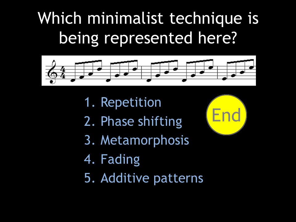 1.Repetition 2.Phase shifting 3.Metamorphosis 4.Fading 5.Additive patterns Which minimalist technique is being represented here.