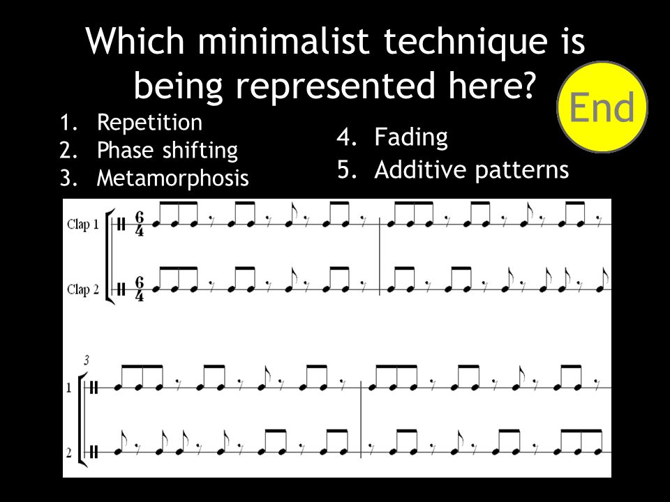 1.Repetition 2.Phase shifting 3.Metamorphosis Which minimalist technique is being represented here.