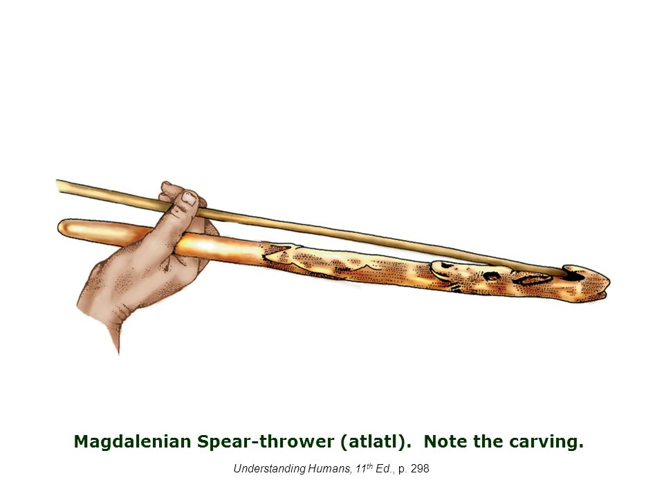 Understanding Humans, 11 th Ed., p. 298 Magdalenian Spear-thrower (atlatl). Note the carving..