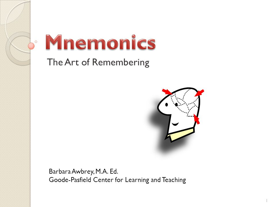 The Art of Remembering Barbara Awbrey, M.A. Ed. Goode-Pasfield Center for Learning and Teaching 1