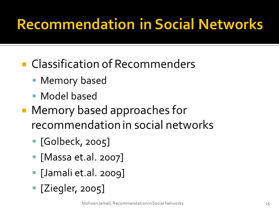 Classification of Recommenders Memory based Model based Memory based approaches for recommendation in social networks [Golbeck, 2005] [Massa et.al.