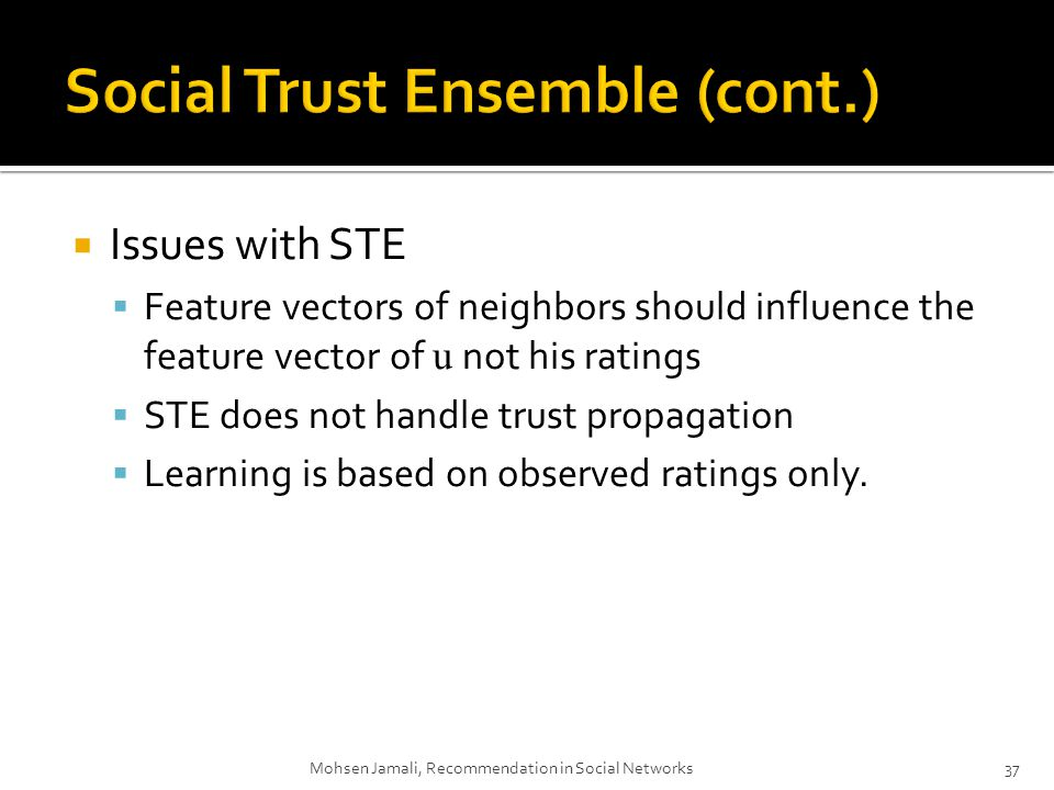 Issues with STE Feature vectors of neighbors should influence the feature vector of u not his ratings STE does not handle trust propagation Learning is based on observed ratings only.
