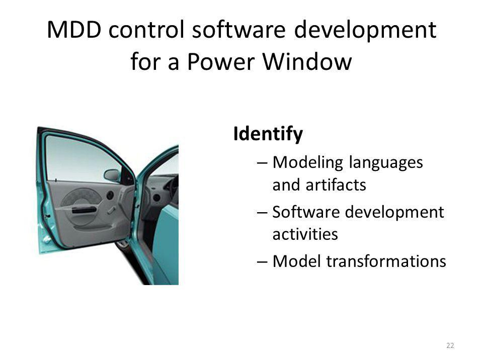 MDD control software development for a Power Window 22 Identify – Modeling languages and artifacts – Software development activities – Model transformations