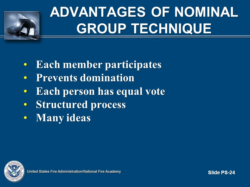 Slide PS-24 ADVANTAGES OF NOMINAL GROUP TECHNIQUE Each member participatesEach member participates Prevents dominationPrevents domination Each person has equal voteEach person has equal vote Structured processStructured process Many ideasMany ideas