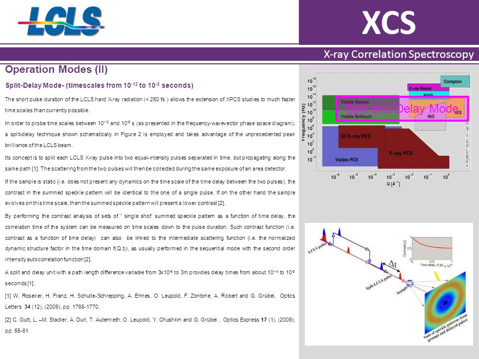 XCS X-ray Correlation Spectroscopy Operation Modes (II) Split-Delay Mode- (timescales from 10 -12 to 10 -8 seconds) The short pulse duration of the LCLS hard X-ray radiation (< 250 fs ) allows the extension of XPCS studies to much faster time scales than currently possible.