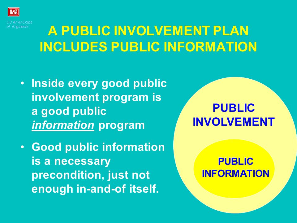 A PUBLIC INVOLVEMENT PLAN INCLUDES PUBLIC INFORMATION Inside every good public involvement program is a good public information program Good public information is a necessary precondition, just not enough in-and-of itself.