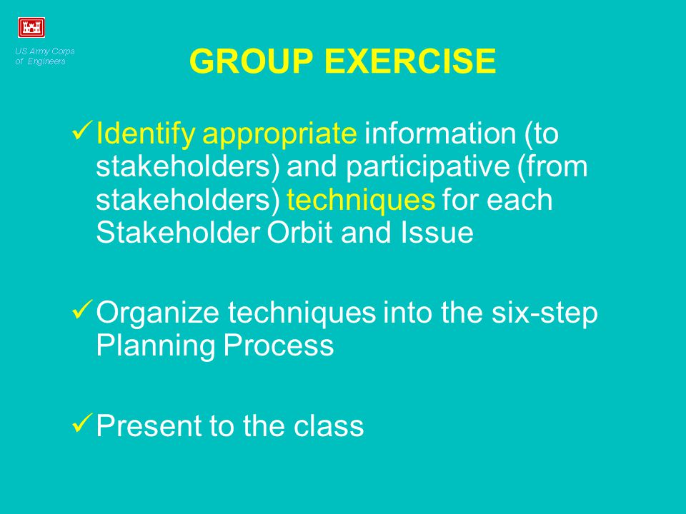 GROUP EXERCISE Identify appropriate information (to stakeholders) and participative (from stakeholders) techniques for each Stakeholder Orbit and Issue Organize techniques into the six-step Planning Process Present to the class