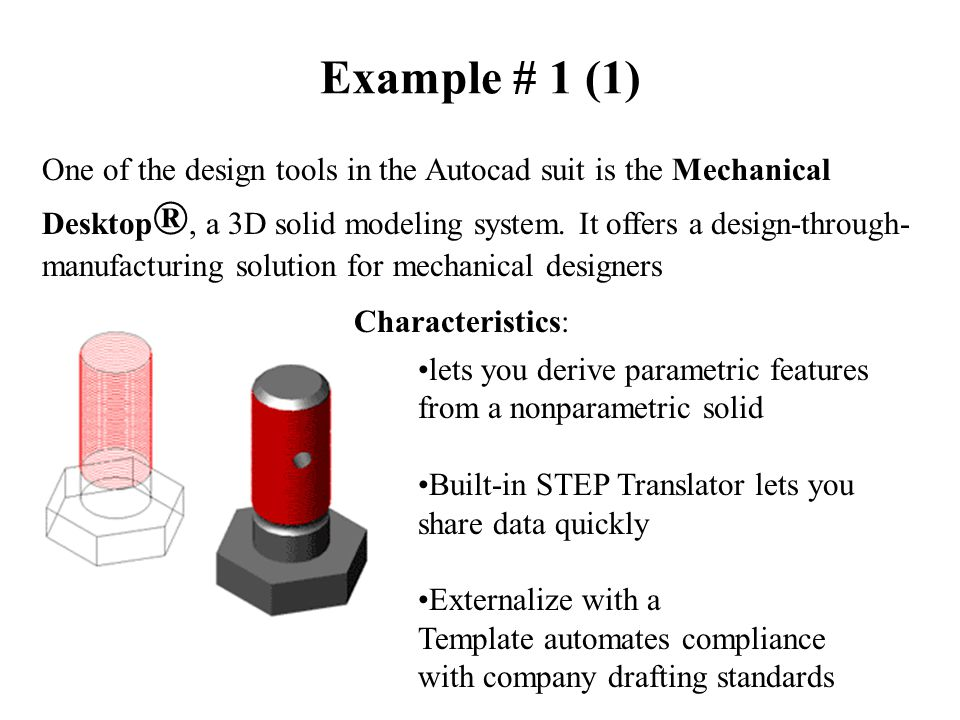 Example # 1 (1) One of the design tools in the Autocad suit is the Mechanical Desktop ®, a 3D solid modeling system.