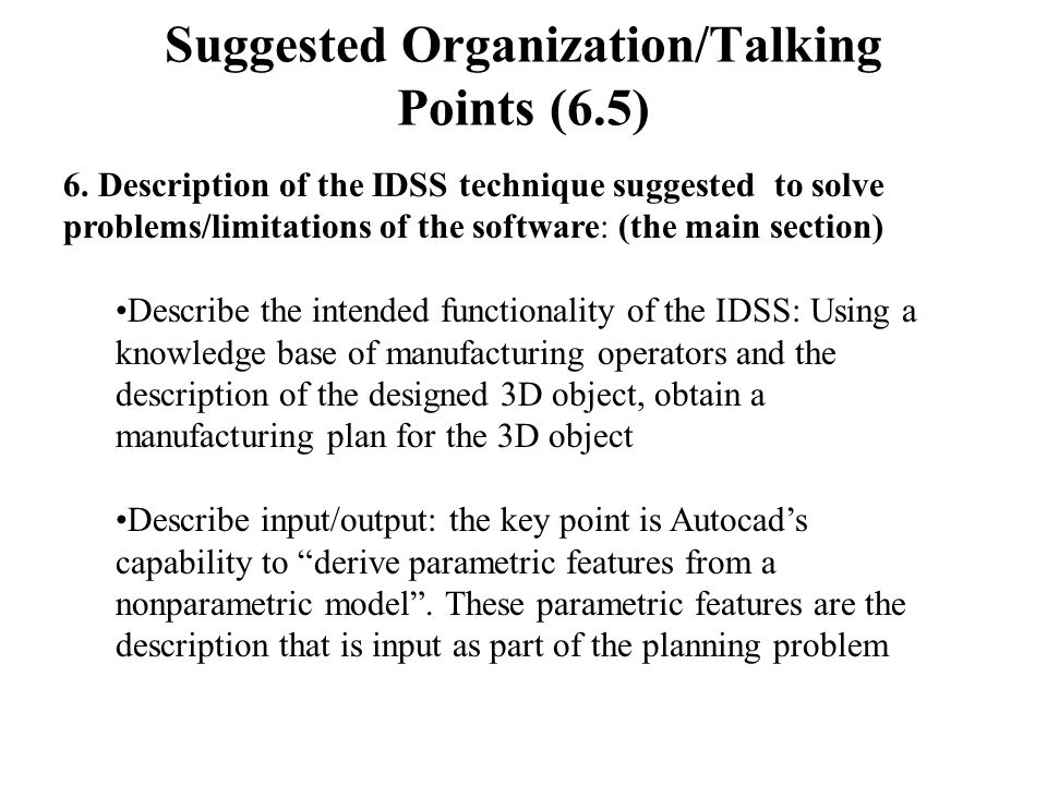 Suggested Organization/Talking Points (6.5) 6.