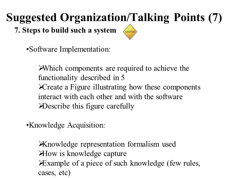 Suggested Organization/Talking Points (7) 7.