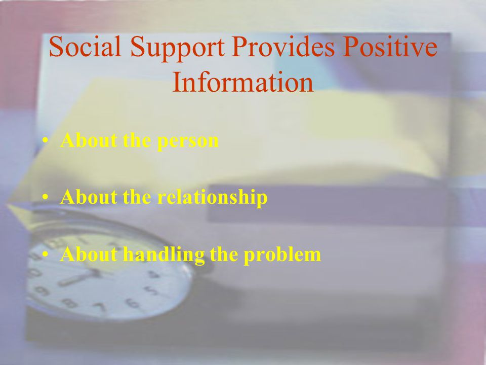 Social Support Provides Positive Information About the person About the relationship About handling the problem