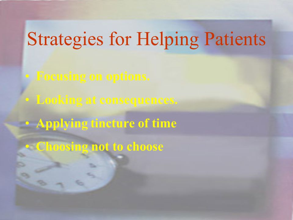 Strategies for Helping Patients Focusing on options.