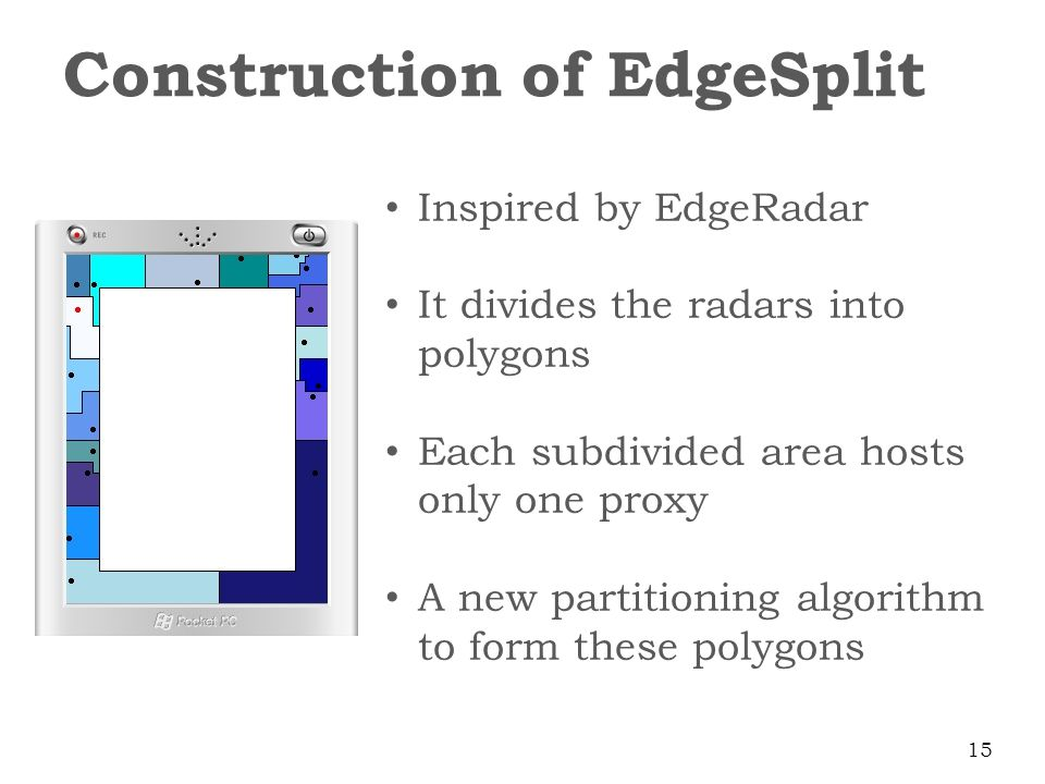 Inspired by EdgeRadar It divides the radars into polygons Each subdivided area hosts only one proxy A new partitioning algorithm to form these polygons Construction of EdgeSplit 15