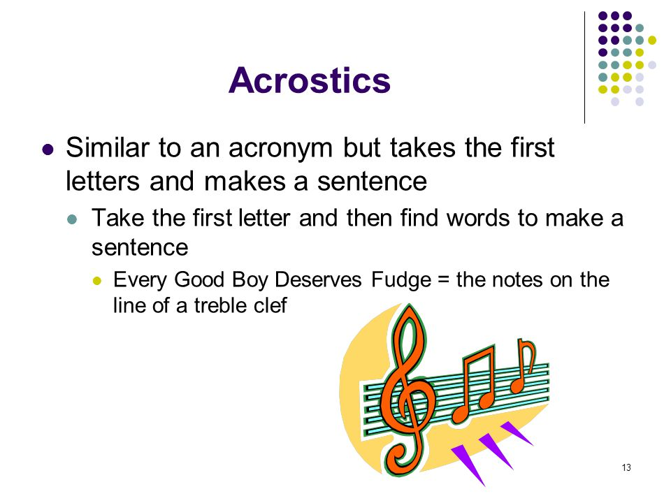 13 Acrostics Similar to an acronym but takes the first letters and makes a sentence Take the first letter and then find words to make a sentence Every Good Boy Deserves Fudge = the notes on the line of a treble clef