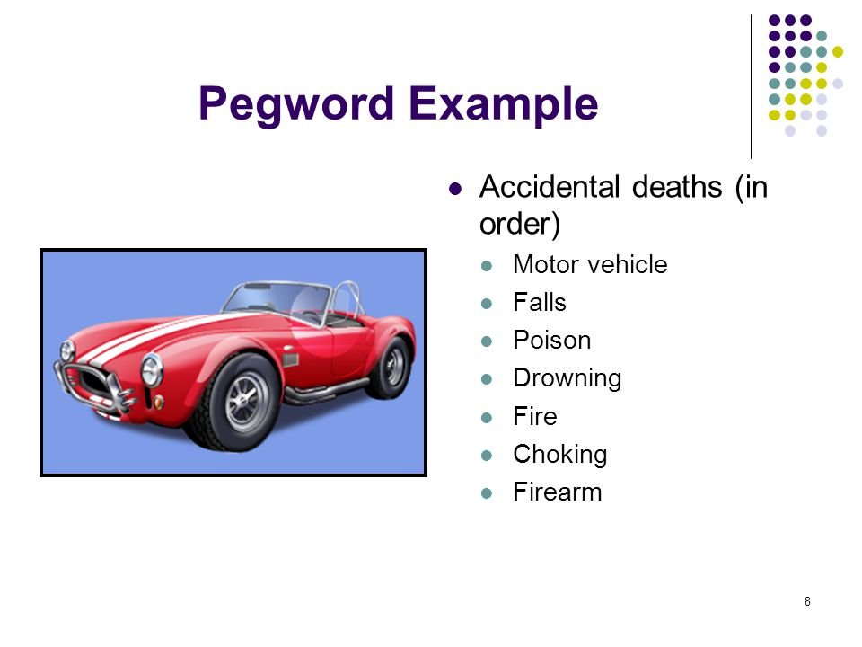 8 Pegword Example Accidental deaths (in order) Motor vehicle Falls Poison Drowning Fire Choking Firearm