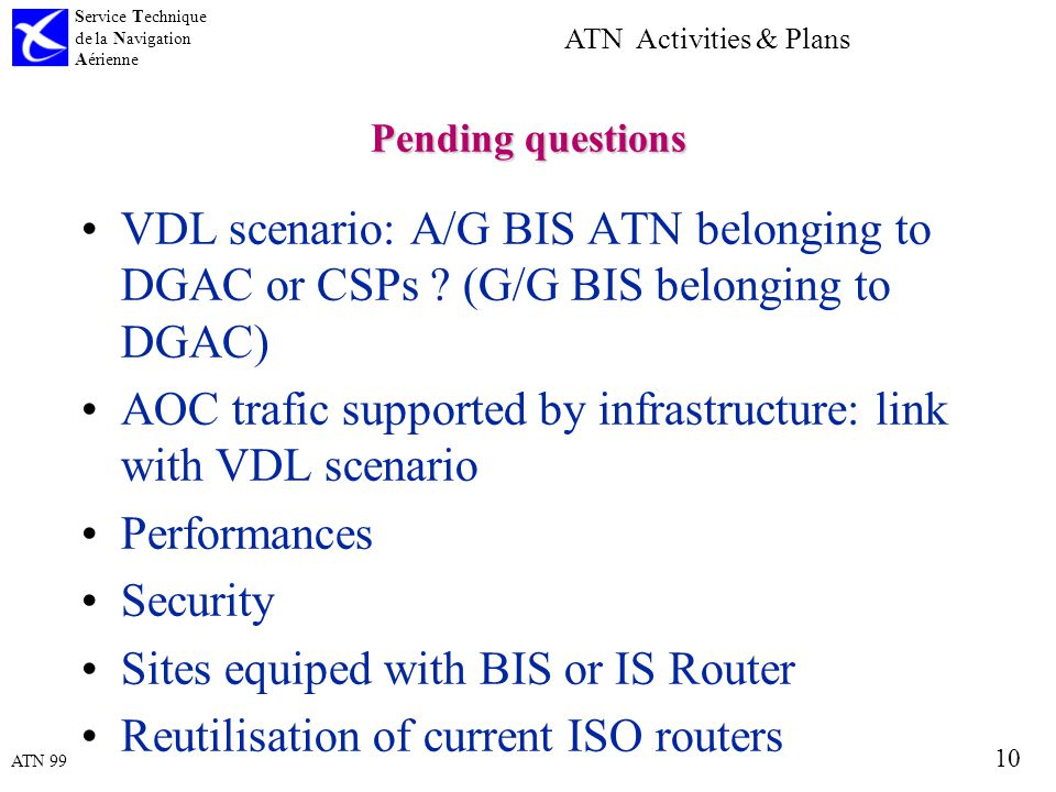 ATN 99 Service Technique de la Navigation Aérienne 10 ATN Activities & Plans Pending questions VDL scenario: A/G BIS ATN belonging to DGAC or CSPs .