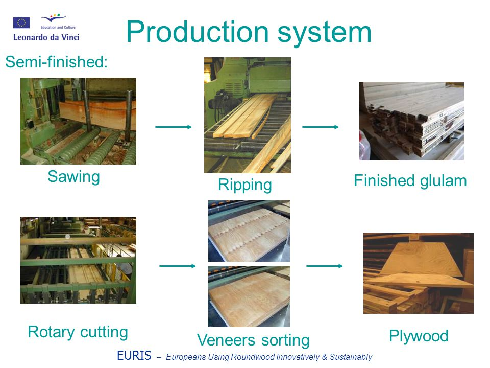 EURIS – Europeans Using Roundwood Innovatively & Sustainably Production system Sawing Ripping Finished glulam Rotary cutting Veneers sorting Plywood Semi-finished: