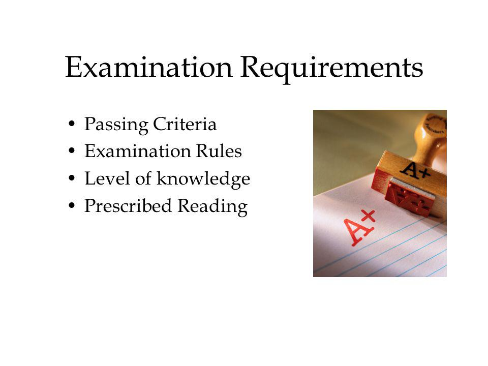 Examination Requirements Passing Criteria Examination Rules Level of knowledge Prescribed Reading