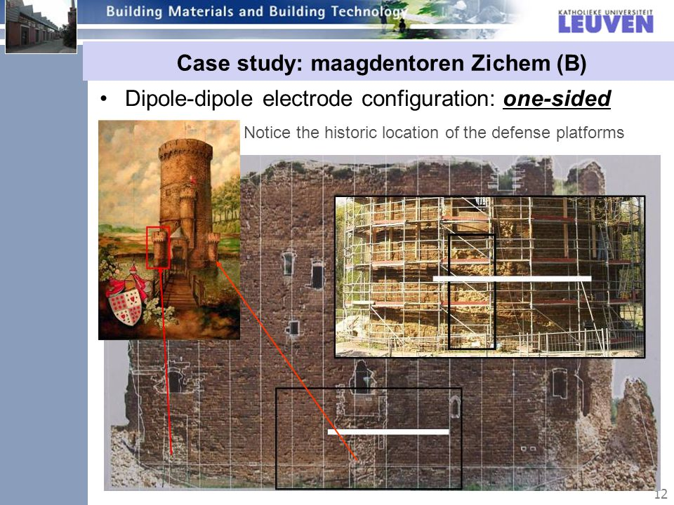12 Case study: maagdentoren Zichem (B) Dipole-dipole electrode configuration: one-sided approach Notice the historic location of the defense platforms
