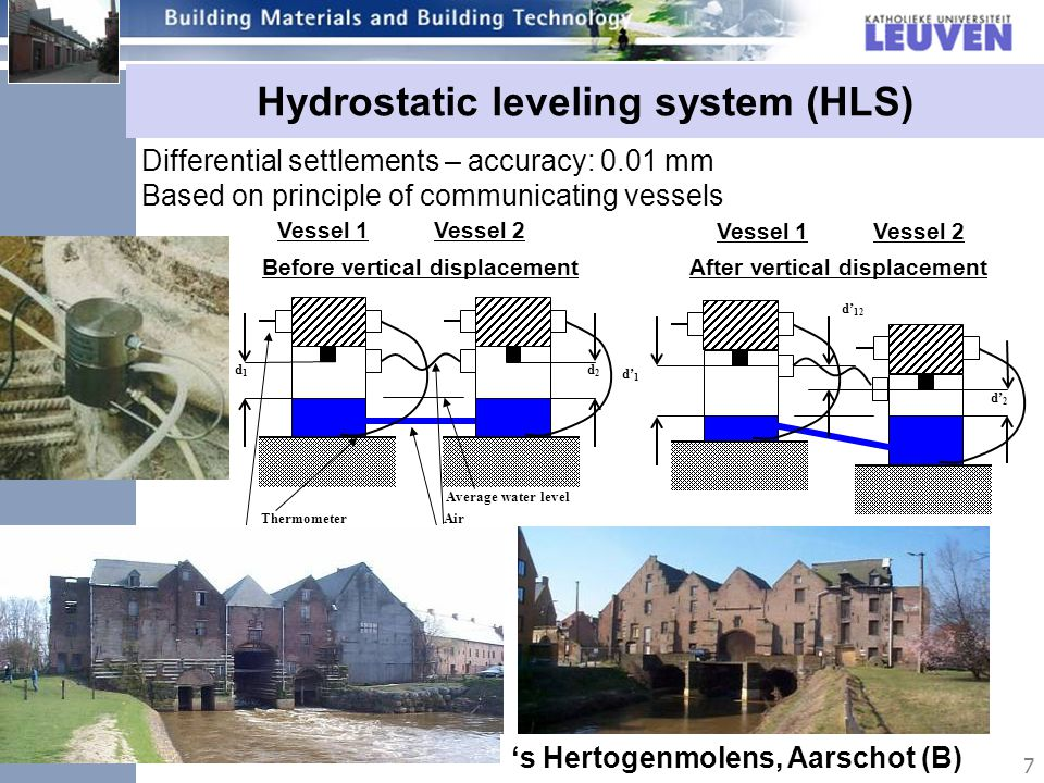 7 Hydrostatic leveling system (HLS) Differential settlements – accuracy: 0.01 mm Based on principle of communicating vessels d1d1 d2d2 d1d1 d2d2 d 12 Vessel 1 Vessel 2 Thermometer Data-acquisition Air water After vertical displacementBefore vertical displacement Average water level Vessel 1 Vessel 2 s Hertogenmolens, Aarschot (B)