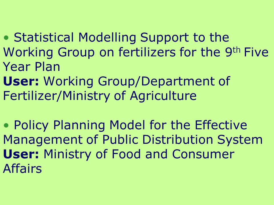 Computer Aided Optimization Model- Transportation and Distribution System for Fertilizer Movement User: Department of Agriculture and Cooperation/Ministry of Agriculture * A Decision Support Optimization Model for the Transportation and Distribution of Fertilizer Product Using Multi-objective criterion-Goal Programming User: Department of Fertilizer/Ministry of Agriculture