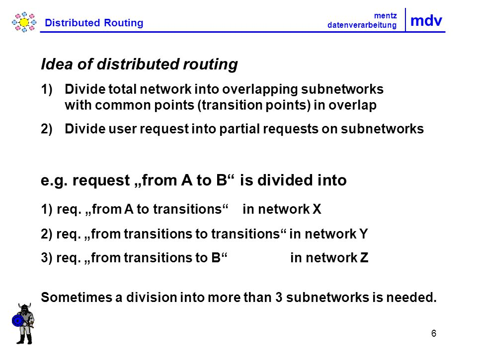 6 mdv Distributed Routing mentz datenverarbeitung Idea of distributed routing 1)Divide total network into overlapping subnetworks with common points (transition points) in overlap 2)Divide user request into partial requests on subnetworks e.g.