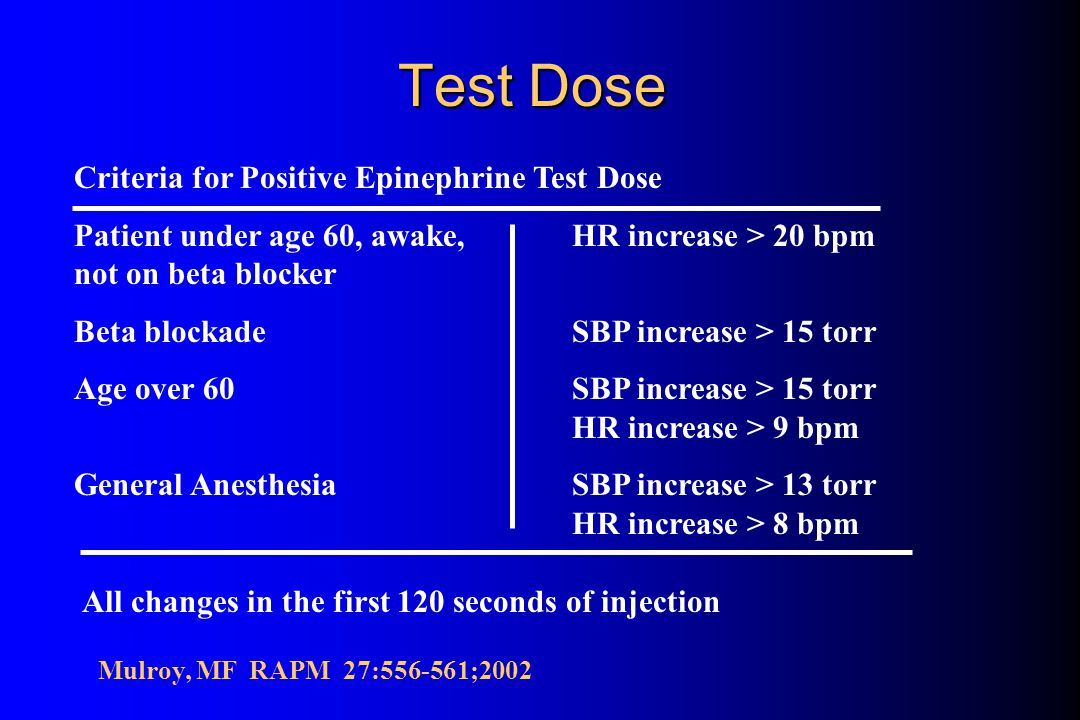 Test Dose l Used to prevent intravascular injection of local anesthetic l Epinephrine most frequently advocated and most extensively studied 15 ug of epinephrine produces a tachycardia within 20 seconds Reliability diminished by beta blockade, aging, general or combined general-epidural anesthesia Mulroy, MF RAPM 27:556-561;2002