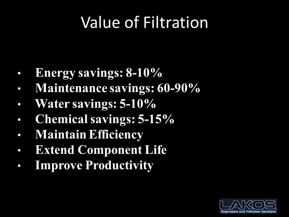 Value of Filtration Energy savings: 8-10% Maintenance savings: 60-90% Water savings: 5-10% Chemical savings: 5-15% Maintain Efficiency Extend Component Life Improve Productivity