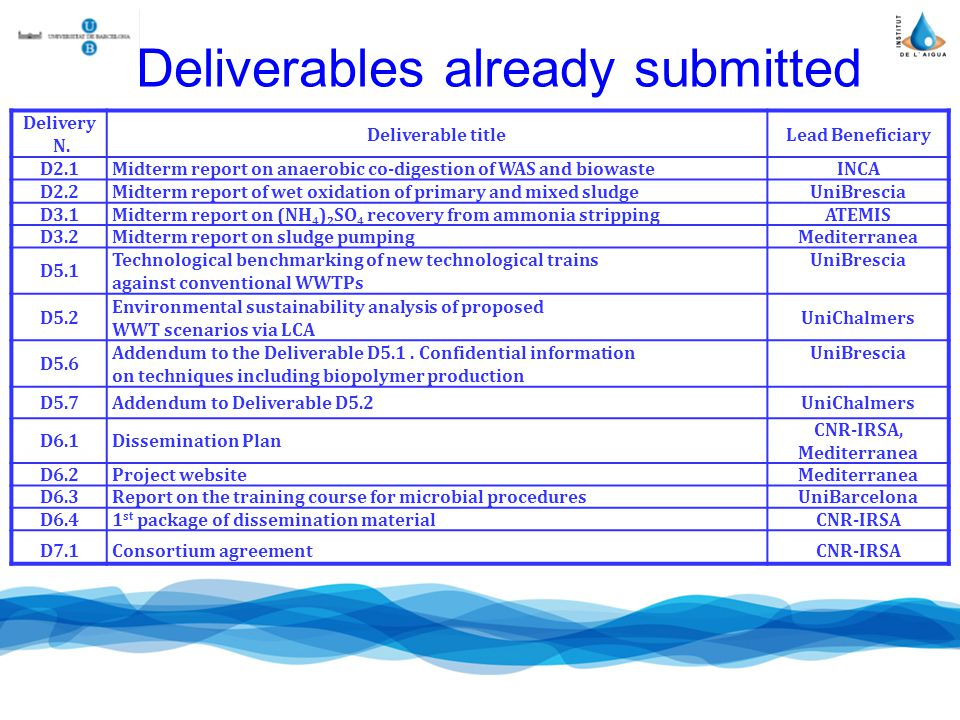 Deliverables already submitted Delivery N.
