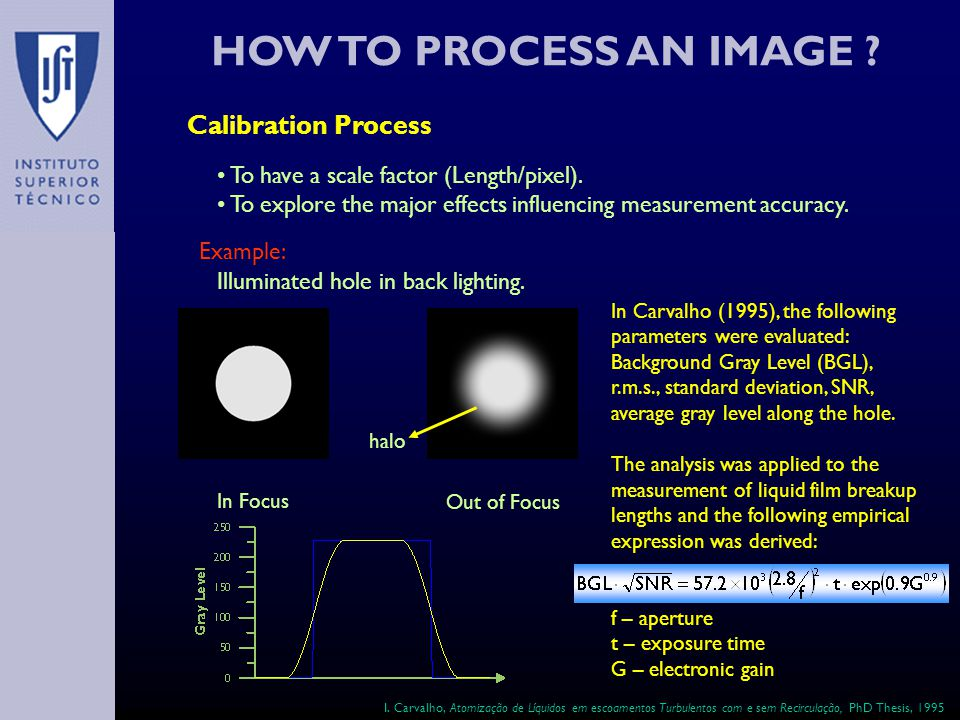 HOW TO PROCESS AN IMAGE . Calibration Process To have a scale factor (Length/pixel).