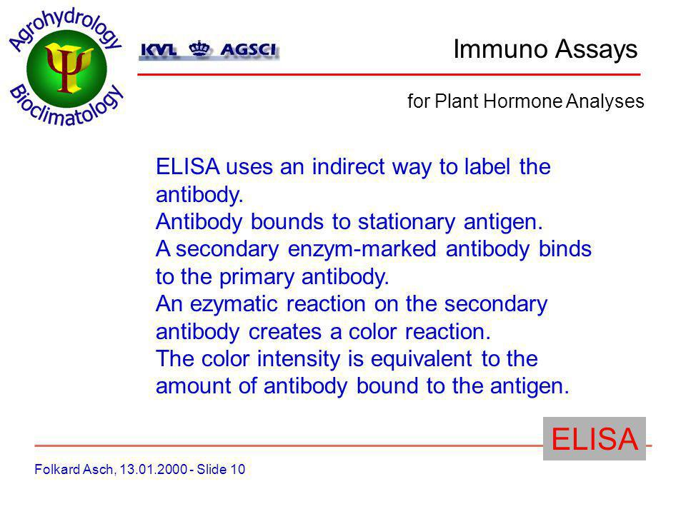 Immuno Assays Folkard Asch, 13.01.2000 - Slide 10 for Plant Hormone Analyses ELISA ELISA uses an indirect way to label the antibody.