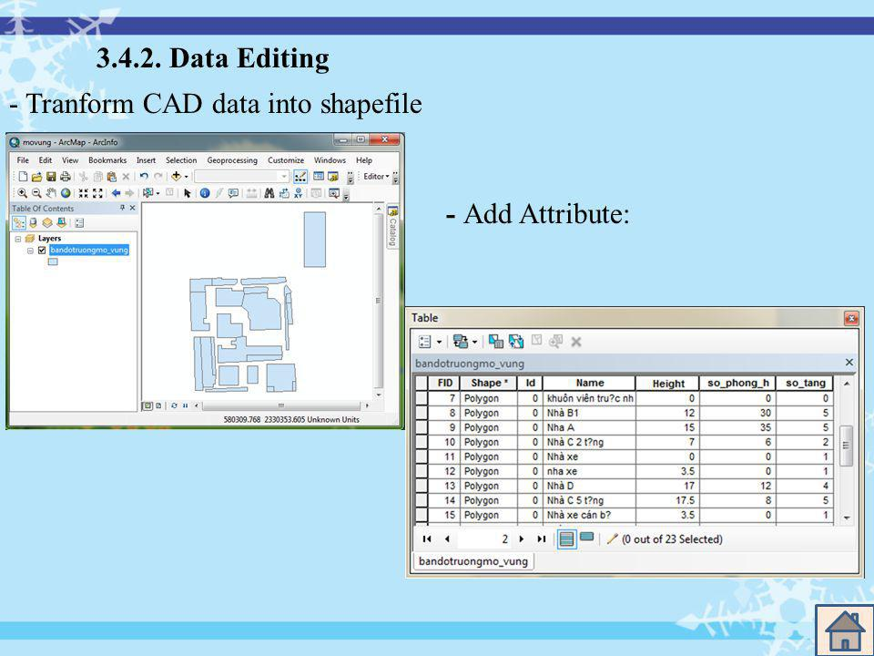 3.4.2. Data Editing - Tranform CAD data into shapefile - Add Attribute: